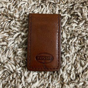 Like New Fossil Brown Leather Magnetic Money Clip